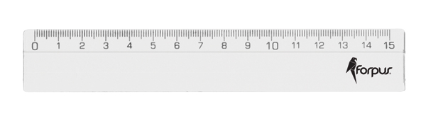 Plastic ruler, transparent 15cm